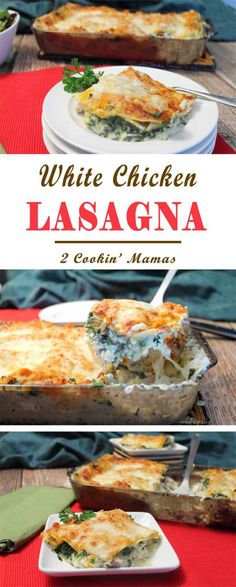 White Chicken Lasagna | 2 Cookin Mamas Quick & easy chicken lasagna with a creamy cheesy sauce and packed with spinach and squash. Great way to serve an all-in-one dinner. #recipe #casserole