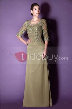 Fashionable Lace/Appliques Sheath Floor-Length Square Neckline Taline's Mother of the Bride Dress : Tidebuy.com