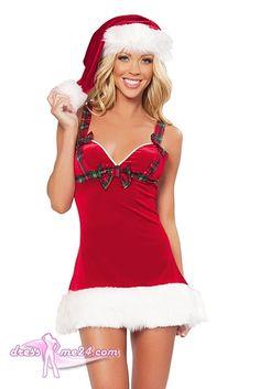 Besuche uns gern auch auf dressme24.com ;-) Santa Claus Kleidchen - Weihnachtskostüm - Kurzes Stretch Samt Minikleidchen mit Karo Schleifchenverzierung und kuscheligen weißem Kunstpelzsaum. #Kostueme, #Weihnachtskostueme, #Xmas
