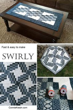 Swirly quilted table runner made with the Swirly quilt pattern