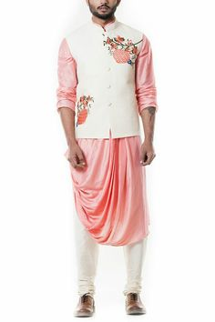 Indian Fashion Designers - Anju Agarwal - Contemporary Indian Designer - Off White Quilted Waist Coat Set - Mens Indian Wear, Indian Men Fashion, Indian Party Wear, Mens Fashion Wear, Look Fashion, Ethnic Fashion, Wedding Dress Men, Indian Wedding Outfits, Wedding Men