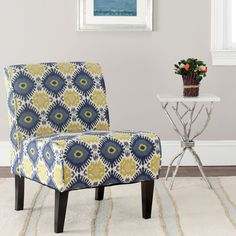 Safavieh Furniture MCR1003A - The simple, elegant profile of the Lisimba armless chair gets a fresh finish with a vivid tribal pattern in blue, green-gold and off-white on 100% cotton f