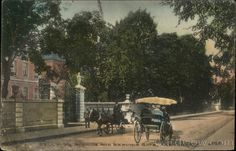 "America's Gilded Age era in, Newport RI. ~ Postcard captioned: ""Bellevue Avenue and Berwind Gate - Newport, Rhode Island"". Newport Rhode Island, Newport Beach, Gilded Age, East Coast, Gate, Outdoor Furniture Sets, Street View, Viscount, York"