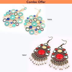 Shop Combo of Retro Red Tassel and Bohemia Wind #Fashion #Earrings at Just Rs. 599.00 From #TrendyMela.