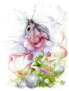 Fantasy & Sci fi art by Delphine Gache Unicorn And Fairies, Flower Fairies, Fantasy Creatures, Mythical Creatures, Fairy Land, Fairy Tales, Fairy Dust, Elfen Tattoo, Dragons