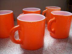Vintage Retro Orange Fire King mugs cups by RetrospectiveResale