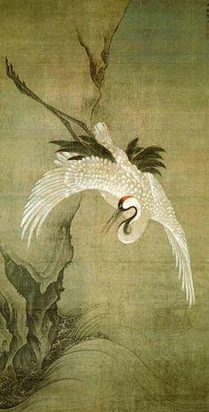 Shokoku-ji, Meikaku-zu. Kyoto 相国寺 鳴鶴図 (文正筆)