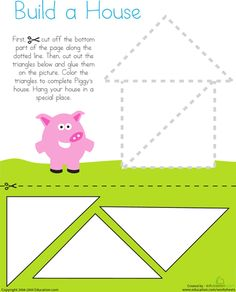 Preschool Fine Motor Skills Worksheets: Cutting Triangles: Build a House Kids use their cutting skills to build Piggy's house on this prekindergarten worksheet. This worksheet helps build fine motor skills and recognition of shapes. Preschool Printables, Preschool Worksheets, Preschool Learning, Learning Activities, Preschool Activities, Physical Activities, Physical Education, Preschool Shapes, Shape Activities