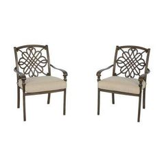 Cavasso Stationary Metal Outdoor Dining Chair with Oatmeal Cushion (2-Pack)