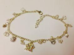Butterfly sparkly crystal n quartz anklet www.purplehayz.co.uk