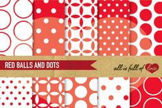 Red Digital Papers Scrapbook Background Sheets :: Patterns with polka dots, quatrefoil and spots. You get 10 High Quality Sheets :: JPG files in Letter size with 300 dpi jpg, for perfect printing or digital use. These have so many uses, they are great for scrapbooking, crafts, party decor, DIY projects, blogs, stationery. All patterns are original and copyrighted by All is full of love
