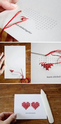 cross stitch hearts for wedding or anniversary card