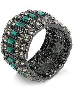 Bar III Bracelet, Hematite-Tone Green Stone Stretch Bracelet - Fashion Jewelry - Jewelry & Watches - Macy's