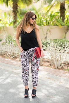 Patterned Pants: 20 Outfit Inspiration Photos - graphic patterned pants styled with a loose cami top + black open toe heels