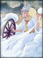 """Friga Deusa do céu, do amor, fertilidade e da fidelidade conjugal, era sempre invocada durante os matrimônios e partos. Seu nome significa """"a amada"""" e era filha de Odin e Jörd, apesar de ter sido a segunda esposa do pai. É mãe de Balder, Bragi e Hoor. Faz parte da trindade formada por Ring, Jörd e ela. Conhece o futuro, porém não pode revelar. Simboliza o silêncio ou o ouvido. Aparece vestida com panos brancos, um cinto de ouro na cintura do qual saem chaves, símbolo da dona de casa nórdica."""