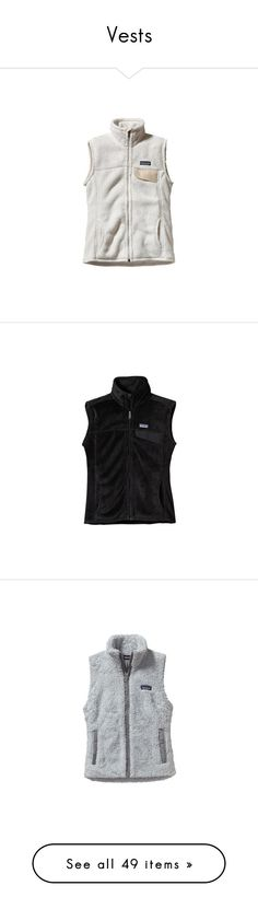 """""""Vests"""" by sc-prep-girl ❤ liked on Polyvore featuring outerwear, vests, tops/outerwear, patagonia vest, linen waistcoat, patagonia, vest waistcoat, white vest, black and long vest"""