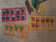 Ten frames made with popsicle sticks and tacky glue! Little foam cubes from Target dollar section or Dollar Tree.