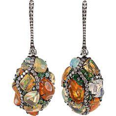 ARUNASHI Fire Opal Egg Drop Earrings ($26,600) ❤ liked on Polyvore
