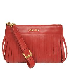 Miu Miu Prada Soft Calf Leather Fori Piatto Maniglia Red Clutch Bag Wristlet 5N1811 - Measurements: 9.5 ...
