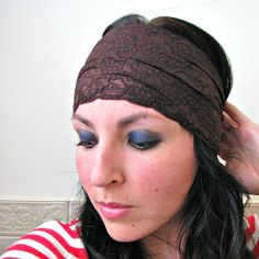 SALE Stretch Lace Boho Headband, Wide Lace Headwrap, Chocolate Brown, Gift for her