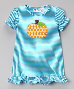 Another great find on #zulily! Turquoise Striped Pumpkin Ruffle Dress - Infant, Toddler & Girls #zulilyfinds