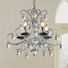 Finished in gorgeous chrome crystal, this chandelier is a great addition to any lighting design.  The chandelier base is constructed of sturdy iron to ensure a long lasting illuminating centerpiece for your decor. $152
