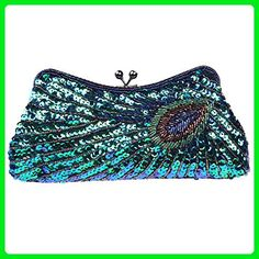 Fawziya Kiss Lock Sequin Clutch Purse Peacock Clutch Bag - Blue - Evening bags (*Amazon Partner-Link)