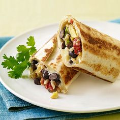 Crispy Bean & Cheese Burritos. (To cut calories, use low-carb tortillas, reduced-fat cheese, cut down on avocado.)
