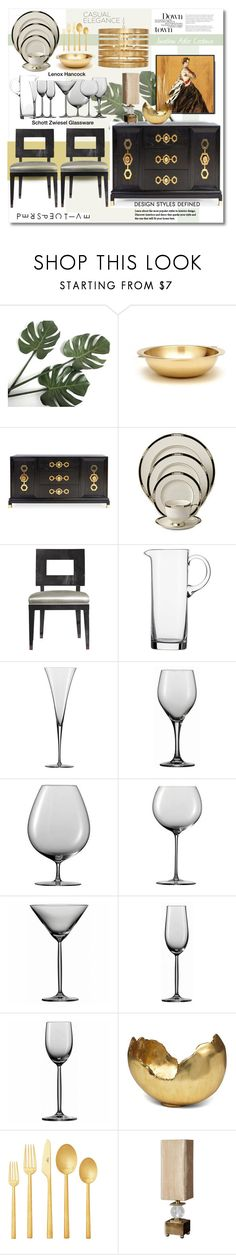 """Lenox Hancock"" by esch103 ❤ liked on Polyvore featuring interior, interiors, interior design, home, home decor, interior decorating, Jonathan Adler, Schott Zwiesel, Mitchell Gold + Bob Williams and Cutipol"