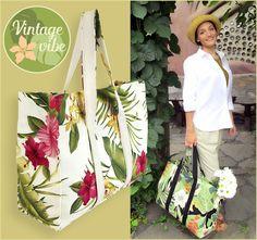 The Big Shopper in Tropical Barkcloth | Sew4Home