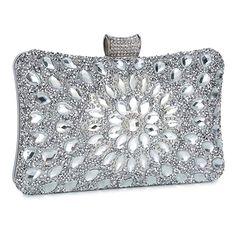 4adb787105c Clocolor Evening Bags and Clutches for Women Crystal Clutch Beaded Rhinestone  Purse Wedding Party Handbag(Silver)