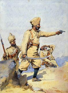 British; 24th Punjabis, Sepoy Malikdin Khel (Afridi) and a Subadar (Jat Sikh), c. 1908