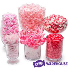 Need a candy buffet to spice up your wedding or holiday party but don't know where to start? Use Candy Warehouse's buffet builder to make your candy bar a hit! Bulk Candy, Hard Candy, Candy Shop, Pink Candy Buffet, Bridal Shower Tables, Baby Shower Candy Table, Candy Display, Sharon Stone, Casino Theme Parties