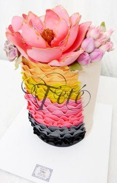 """WEDDING CAKE """"RUFFLES & BOUQUET"""" - Cake by Teté Cakes Design   CakesDecor.com"""