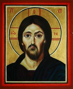 tomasz biłka op,Zbawiciel (na podstawie Pantokratora Synajskiego), tempera na desce lipowej, złocenie, 27x20 cm, 2008, dla Aleksandry Bal.