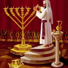 Priest lighting the sacred chandelier (Menorah). By Temple Institute. Menorah, Bible Pictures, Jesus Pictures, Tabernacle Of Moses, Arte Judaica, Messianic Judaism, Bible Illustrations, Learn Hebrew, Biblical Art