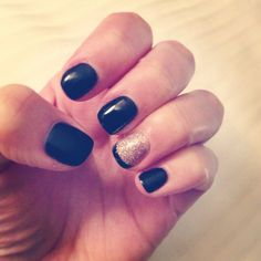 Black and glitter accent nail