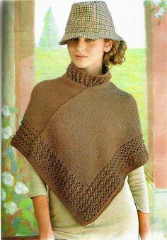 Abrigado poncho cuello alto, tejido en punto jersey a dos agujas y las terminaciones en crochet. Un...