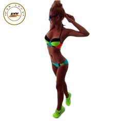 2016 new sexy women swimsuit split bathing suits spell color halter two piece set swimsuit patchwork plus size swimwear  #hair #beautiful #jennifiers #beauty #styles #stylish #cute #makeup #jewelry #fashion #model #outfitoftheday #outfit #purse #style