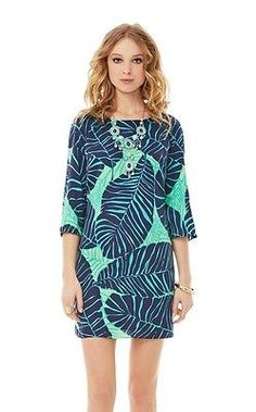 $198 Lilly Pulitzer Carol Shift Dress New Green Under The Palm Fall Favorite 0