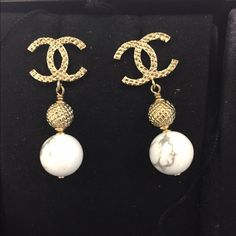 *SOLD * Chanel 2016 Collection Marble Earring Fabulous Large CC textured Marble dangle Earrings from the 2016 Fall collection . Brand new in a box with Tag attached and comes with Full set Original box , felt , camellia flower and ribbon . Sold out in a week ! Made in Italy . CHANEL Jewelry Earrings