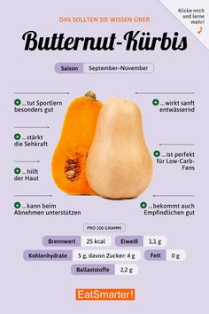 Worth knowing about the butternut squash - Wissenswertes über den Butternut-Kürbis That& what you should know about butternut squash Diet And Nutrition, Nutrition Tracker, Nutrition Store, Health Facts, Health Tips, Mental Health, Food Facts, Superfood, How To Stay Healthy