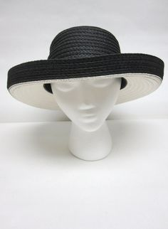 White Black Hat Curled Brim Wide Giovannio by sweetie2sweetie