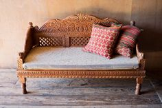 Ornately Carved Indian Bench with Natural Finish Silver Furniture, Living Furniture, Home Furniture, Wood Daybed, Wood Sofa, Mexican Furniture, Indian Furniture, Indian Sofa, Wooden Sofa Set Designs
