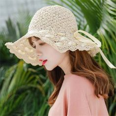 ad0de962f62 Lace up straw beach hat for teenage girls summer sun hats packable