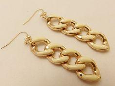 Gold Tone Enamel Long Chain Vintage Earrings by TheEarringPlace