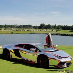 Confident Chrome Lamborghini Aventador with a cool red trim!
