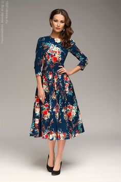 ЛЮБЛЮ ПЛАТЬЯ интернет-магазин платьев - Платье с принтом цветы длины миди