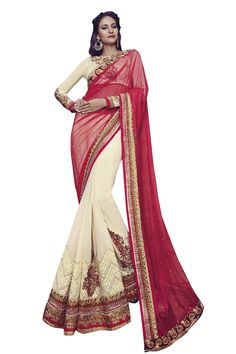 Buy Now Maroon-Cream Georgette with Net Pallu Half Half Wedding Saree with Heavy Work Blouse only at Lalgulal.com  Price :- 7,882/- inr. To Order :- http://bit.ly/1pwWNct COD & Free Shipping Available only in India #sarees #weddingsaree #saris #weddingwear #bridalwear #halfandhalf #allthingsbridal #bridalsuits #ethnicfashion #celebrity #shopping #fashion #bollywood #india #indiafashion #bollywooddesigns #onlineshopping #designersaree #partywear #collection #designechoice #wedding #designer
