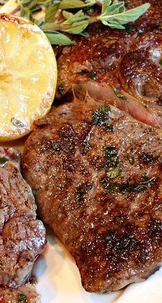 Pan Fried Lemon Garlic Rib Eye Steaks